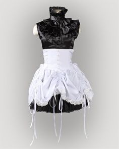 Double Corset Waist Bustle Skirt - White from Frenzy Universe
