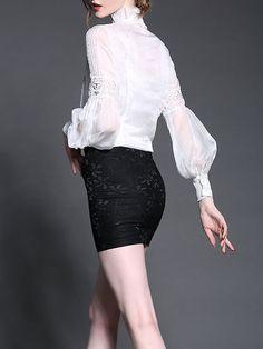 Dark Blue Solid Casual A-line Denim Midi Skirt High Neck Blouse, Fashion Online, Midi Skirt, Ballet Skirt, Turtle Neck, Elegant, Vintage, Casual, Skirts