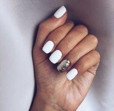 60 Must Try Nail Designs for Short Nails Short Acrylic Nails; Chic and fun Nails; Short Nail Designs, Simple Nail Designs, White Nail Designs, White Nails With Design, Nail Designs For Fall, Accent Nail Designs, Stylish Nails, Trendy Nails, White Glitter Nails