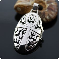 Egyptian Sterling Silver Ankh Locket-MOJOII Silver Jewelry Store Egyptian Personalized Lover Skull Fashion