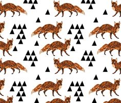 Geometric Fox - Champagne fabric by andrea_lauren on Spoonflower - custom fabric