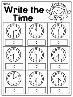 Grade Time Worksheets - Math Worksheet for Kids First Grade Math Worksheets, School Worksheets, 1st Grade Math, Clock Worksheets, Grade Spelling, Reading Worksheets, Subtraction Worksheets, Phonics Worksheets, Third Grade