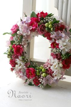 ワイルドローズとライラックのリース Rose Wreath