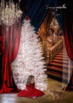Castle stairs   Curtain   white christmas tree   digital background   digital backdrop   festive   red   chandelier