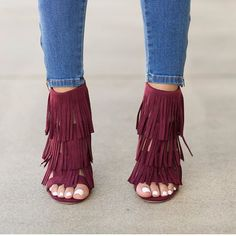maroon fringe heels- Fringe bags and boots collection… Cute Shoes, Me Too Shoes, Unique Shoes, Louis Vuitton Heels, Shoe Boots, Shoes Heels, Heeled Boots, Lace Up Heels, Crazy Shoes