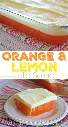 Orange and Lemon Jello Salad from Jamie Cooks It Up! This make a great side dish for summer! Jello Desserts, Jello Recipes, Summer Desserts, Just Desserts, Delicious Desserts, Dessert Recipes, Yummy Food, Salad Recipes, Summer Recipes