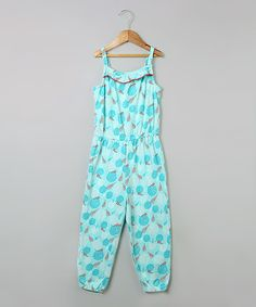 Love this Turquoise Floral Jumpsuit - Girls by Beebay on #zulily! #zulilyfinds