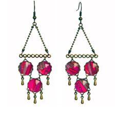 Boucles d'oreilles Romantique en cabochons et tissu liberty. Découvrez le collier et bracelet  assortis ici : http://www.filalir.fr/autres-collections/aujourd-hui-je-suis/