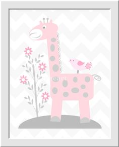 Girl Nursery Wall Art Pink Gray Grey by DezignerheartDesigns