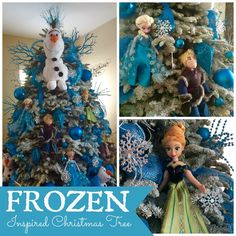 Check out this amazing Frozen Inspired Christmas Tree - Can you imagine this for a December birthday party?  The ornaments are the take-home gifts for the guests!