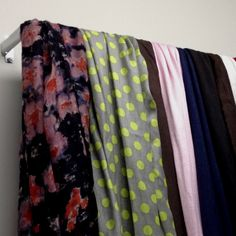 DIY scarf holder out of a cheap white curtain rod. I double layered on my closet wall to hang all of my scarves. White Curtain Rod, Outdoor Curtain Rods, Outdoor Curtains, Scarf Rack, Scarf Holder, Closet Organization, Organization Ideas, Organizing, Diy Scarf