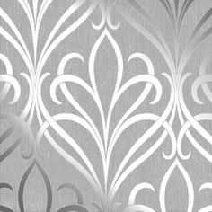 Henderson Interiors Camden Damask Wallpaper Soft Grey Silver - Wallpaper from I Love Wallpaper UK Baroque Wallpaper, Damask Wallpaper Living Room, Wallpaper Colour, Wallpaper Uk, Silver Wallpaper, Designer Wallpaper, Pattern Wallpaper, Victorian Wallpaper, Art Nouveau Wallpaper