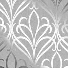 Henderson Interiors Camden Damask Wallpaper Soft Grey Silver - Wallpaper from I Love Wallpaper UK Baroque Wallpaper, Damask Wallpaper Living Room, Wallpaper Colour, Wallpaper Uk, Silver Wallpaper, Embossed Wallpaper, Designer Wallpaper, Pattern Wallpaper, Victorian Wallpaper