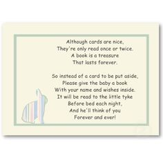 Striped Bunny Baby Shower Book Poem - Insert Card profilecard