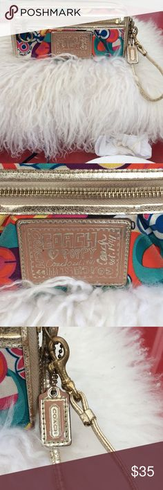 Coach poppy large wallet/ wristlet supper cute Coach poppy wallet/ wristlet supper cute the outside leather trim has some peeling but this gives it a vintage vibe. 11/4/17 Coach Bags Clutches & Wristlets