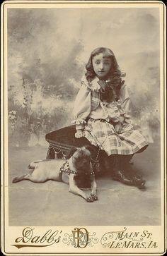 +~+~ Antique Photograph ~+~+  Daughter of David van Buren with her dog.