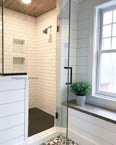 DIY bathroom renovation, walk-in shower, subway tile, tiled shower, shiplap, planked ceiling