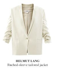 Ruched-sleeve tailored jacket