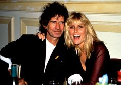 Richards with his wife Patti Hansen. He married her on December 18, 1983 - his fortieth birthday.
