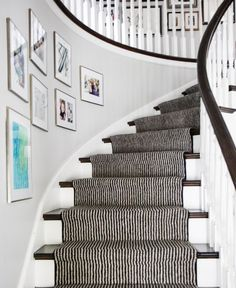 Requesting dash and albert stair runner for your staircase can prove costly, whether it is a straight or spiral design. Staircase Runner, Curved Staircase, Staircase Design, Spiral Staircases, Staircase Ideas, Stair Design, Hallway Ideas, Black Stairs, Wood Stairs
