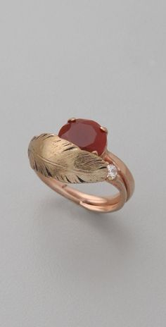 Iosselliani Red Agate Feather Ring thestylecure.com