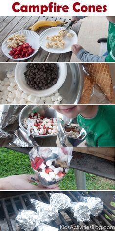 Gooey Flavorful S'mores: Mix goodies in bowl, wrap cone in foil, stuff, secure opening, place on gray coals, rotate a few times during 5-7 minutes. Need: Chopped Fruit (strawberries, bananas, berries, even tart apples), Mini-Marshmallows, Chocolate Chips (maybe even white, butterscotch, mint, toffee, cinnamon), Waffle Ice-Cream Cone or Bowl (not any cone will work), and Tin Foil.