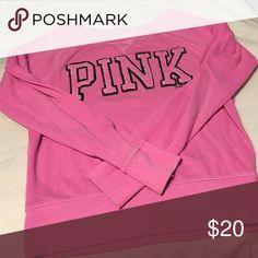 """Victoria's Secret PINK Sweatshirt Bright pink Victoria's Secret PINK Sweatshirt """"Pink"""" logo on front. Blank back. PINK Victoria's Secret Sweaters"""