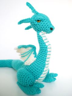 """My first crochet dragon!"" >> This dragon is so cute! I love the color blue used!"