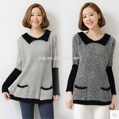 2015 mujeres de corea versión de la simple largo del encanto del color de la solapa camiseta de manga larga para suéter del suéter