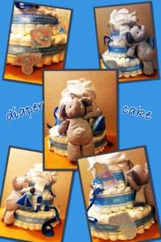 easy to make diaper cake for baby shower. things you need... box of diapers, clear hair rubber bands, swim foam, large bow, ribbons, baby shower garland, stuffed animal & baby towel. roll-up each diaper and use rubber band to hold. use swim foam as the center, then wrap diapers around it. when done with 3rd tier, cut foam with bread knife. to finish- wrap ribbons, tie bow on top, use garland to decorate and sit stuffed animal & towel on 2nd tier.