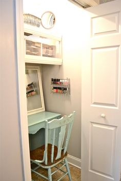 Vanity closet turned into... Makeup organization {Part 3} | lizmarieblog.com