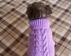 Handknitted sweater for Small Dog.Turtleneck-cable knitted dog sweater.Wool  dog sweater Made to order dog pullover.Color you like dog jumper 7ad375aa75c
