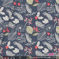 Winterbeeren-Muster  von Figen Topbas Fukara - ein Designer Stoff von www.stoff.love