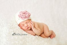 Crochet Baby Girl Hat Cream/ivory with pink by jobeththompson, $16.50