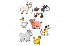 Cartoon cow, dog, sheep, pig, cat, g by seamartini on @creativemarket