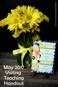 I'm posting the May 2017 Visiting Teaching Handout today…and it is SNOWING in Utah!! This is crazy! We should be out planting flowers and gardens and instead I am hiding out in front of the fireplace! The handout this month is from one of the April 2017 Conference talks. So you get to pick your … Continue reading May 2017 Visiting Teaching Handout →