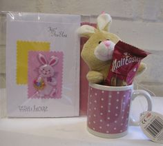 Easter basket girlfriend unique easter gift plush rabbit in bunny lovely little bunny in mug malt easter chocolate easter card gift bag negle Images