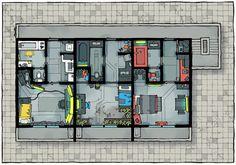 Virtual Tabletop, Building Map, Dungeon Maps, Shadowrun, Blade Runner, 2 In, Cyberpunk, Apartments, Battle
