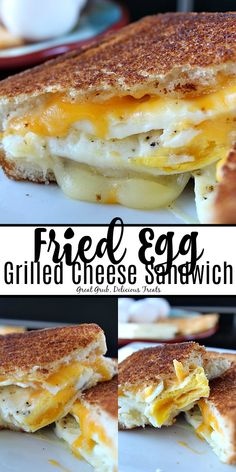 Fried Egg Grilled Cheese Sandwich has two delicious fried eggs, two types of cheese, Texas toast and is a delicious breakfast sandwich. #friedeggsandwich #grilledcheese #breakfastsandwich #brunch #greatgrubdelicioustreats