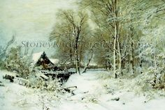 Cottage in a Snowy Landscape  ~ Counted Cross Stitch Pattern Chart #StoneyKnobFarmHeirlooms