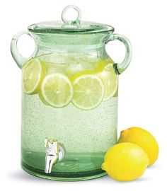 Mouth Blown Lemonade Beverage Server With Sealed Cover. I think these would go with our mason jar country styled wedding Chair And Table Rental, Boho Garden Party, Glass Beverage Dispenser, Water Dispenser, Carnival Food, School Carnival, Carnival Birthday, 2nd Birthday, Jars