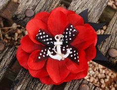 Red and Black Anchor Flower Hair Clip- Rockabilly Hair Accessorie