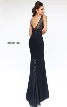 Black Sherri Hill 4312 High Neckline Prom DressOutlet