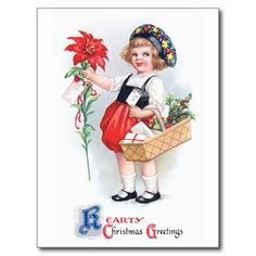 Ellen H. Clapsaddle: Girl with Poinsettia Post Cards