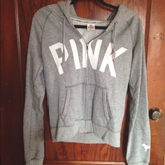 Gray VS Pink Zip Up Willing to sell for cheaper on 〽️ercari! PINK Victoria's Secret Tops Sweatshirts & Hoodies