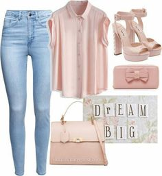 A fashion look from June 2015 featuring cotton blouse, high rise skinny jeans and platform heel sandals. Browse and shop related looks. Casual Fall Outfits, Swag Outfits, Simple Outfits, Classy Outfits, Stylish Outfits, Spring Outfits, Girls Fashion Clothes, Fashion Outfits, Elegant Outfit