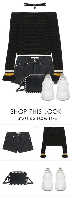 """""""Off the Shoulder in Black"""" by makingastatement on Polyvore featuring Marc by Marc Jacobs, 3.1 Phillip Lim, Valentino, Golden Goose and Fallon"""