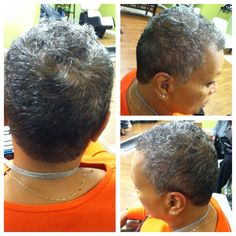 "Custom cutting on one of my ""gracefully gray"" clients!"