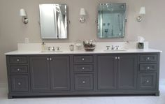 Lana's Long Grey Vanity & En suite Lana's long grey double sink vanity in over 9′ long. The cabinets are beaded inset face frame with concealed hinges. The front corners have quarter-round posts as does the furniture-style toe-kick. In the close-up image of the corner and finished cabinet side (gable end) you can see a …