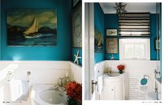 oh yes turquoise strikes quite the mood doesn't it? love the light...a bit small but completely a different take on the average bathroom